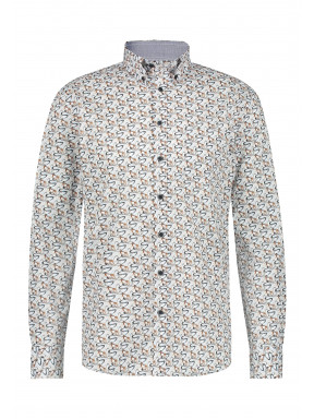 Katoenen-overhemd-met-stretch---donkerblauw/zilvergrijs
