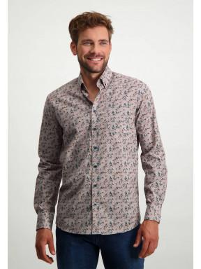 Button-down-overhemd-van-biologisch-katoen---brique/cognac