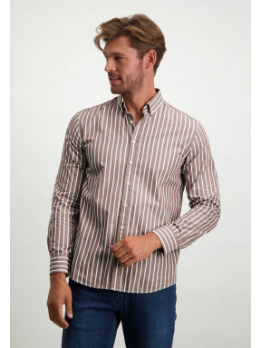 Striped-organic-cotton-shirt---sepia/white