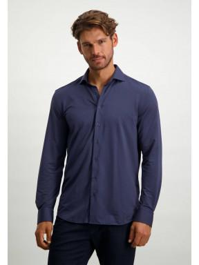 Overhemd-met-cut-away-kraag---donkerblauw-uni