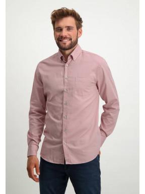 Oxford-overhemd-van-stretch-katoen---oud-roze/wit