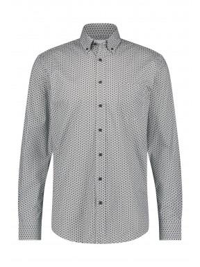 Overhemd-met-print-van-stretch-katoen---zilvergrijs/donkerblauw
