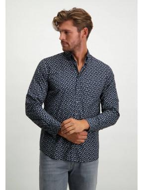 Button-down-overhemd-van-stretch-katoen---donkerblauw/zilvergrijs