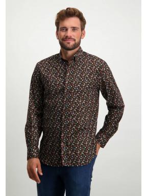Organic-cotton-shirt-with-chest-pocket---dusty-pink/dark-brown