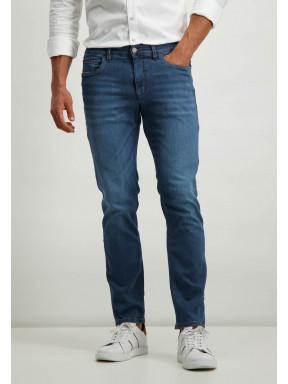 Jean-stretch-en-coton---cobalt-uni