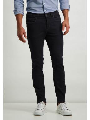 Jean-stretch-en-coton---blue-foncé-uni