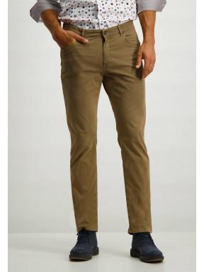 Pantalon-en-sergé-stretch-avec-braguette-à-boutons-et-fermeture-éclair---cognac-monochrome