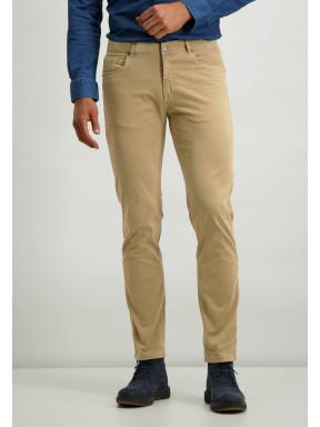 Pantalon-en-sergé-stretch-avec-braguette-à-boutons-et-fermeture-éclair---sépia-uni