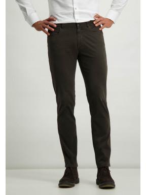Pantalon-en-sergé-stretch-avec-braguette-à-boutons-et-fermeture-éclair---brun-foncé-uni