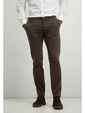 Chino-stretch-en-coton---brun-foncé-uni