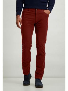 Stretch-Hose-aus-Baumwolle-mit-normaler-Passform---ziegel-uni