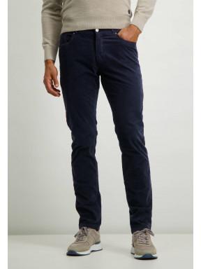 Stretch-Hose-aus-Baumwolle-mit-normaler-Passform---dunkelblau-uni