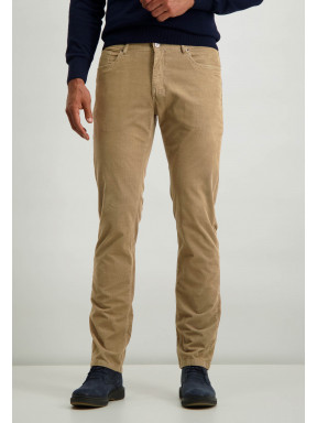 Pantalon-en-coton-stretch-coupe-regular---sépia-uni