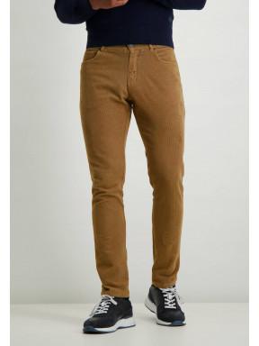 Cord-Stretch-Hose-aus-Baumwolle---sepia-uni