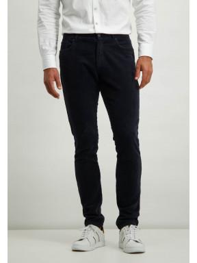 Pantalon-stretch-en-velours-côtelé-irrégulier---blue-foncé-uni
