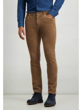 Pantalon-stretch-en-velours-côtelé-irrégulier---sépia-uni