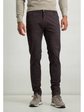 Pantalon-stretch-avec-imprimé-numérique---cognac/brun-foncé