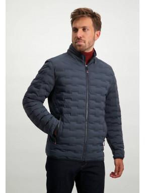 Short-jacket-with-nylon-details---dark-blue-plain
