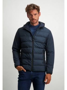 Short-jacket-with-detachable-hood---dark-blue-plain