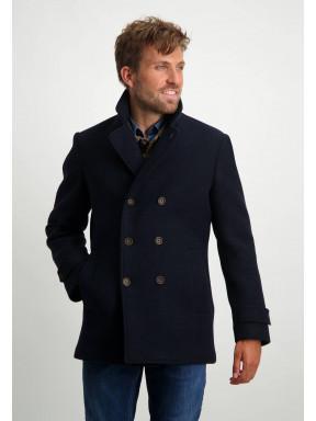 Modern-fit-jacket-with-button-closure---dark-blue-plain