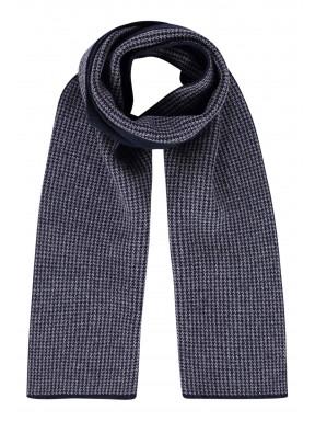 Sjaal-met-printdessin---donkerblauw/zilvergrijs