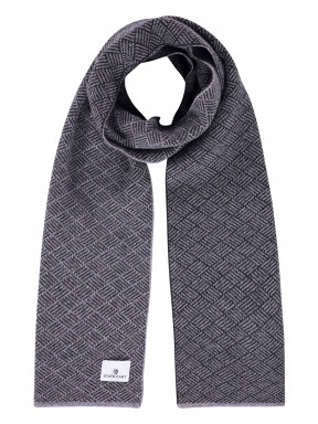 Sjaal-van-een-lamswol-mix---zilvergrijs/donkerantraciet