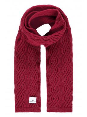 Kabelgebreide-sjaal-van-een-lamswol-mix---brique-uni