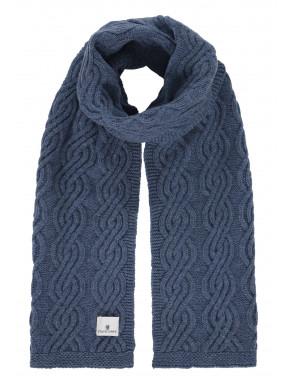 Kabelgebreide-sjaal-van-een-lamswol-mix---kobalt-uni