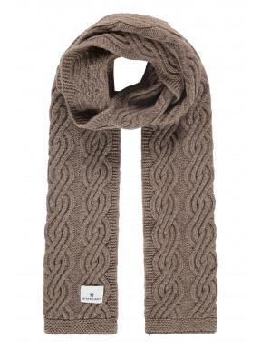 Kabelgebreide-sjaal-van-een-lamswol-mix---sepia-uni