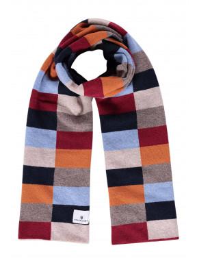 Sjaal-van-een-lamswol-mix-met-logopatch---donkerblauw/brique