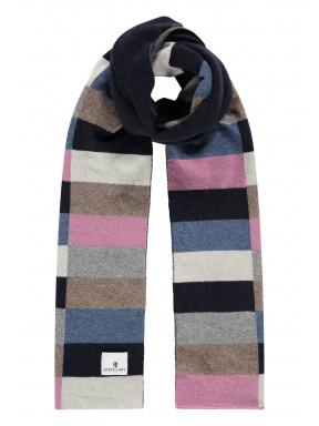 Sjaal-van-een-lamswol-mix-met-logopatch---donkerblauw/oud-roze