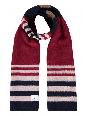 Gestreepte-sjaal-met-lamswol---brique/donkerblauw