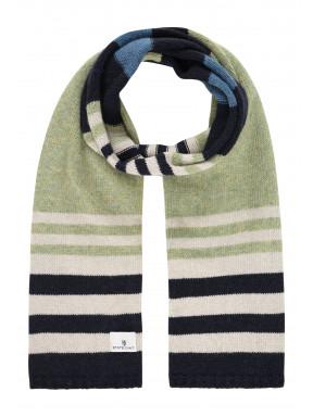 Lambswool-striped-scarf---emerald-green/midnight