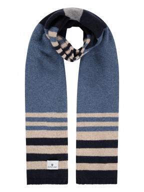 Gestreepte-sjaal-met-lamswol---kobalt/donkerblauw