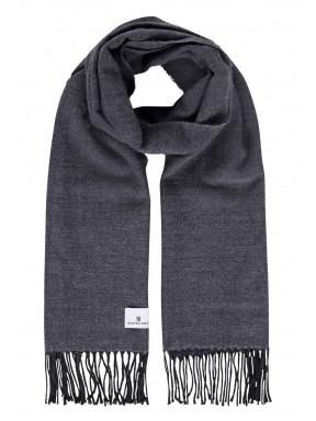Effen-sjaal-met-lange-franjes---zilvergrijs/donkerantraciet
