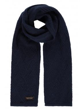 Modern-Classics-sjaal-in-structuur-breisel---donkerblauw-uni
