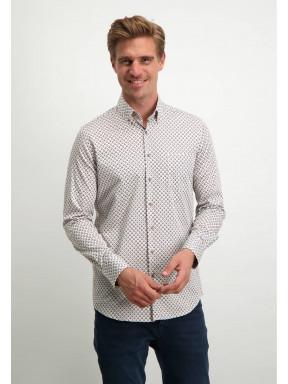 Modern-Classics-overhemd-met-button-down---wit/cognac