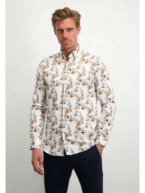 Modern-Classics-overhemd-met-bloemenprint---cognac/donkerblauw