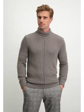 Pullover,-Rollkragen,-uni---sepia-uni