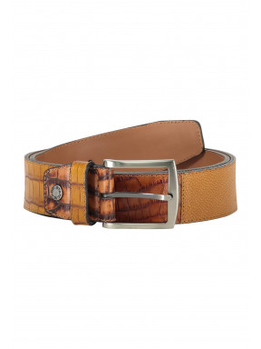 Belt-made-of-exotic-leather-pieces---cognac-plain