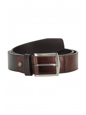 Belt-made-of-exotic-leather-pieces---dark-brown-plain