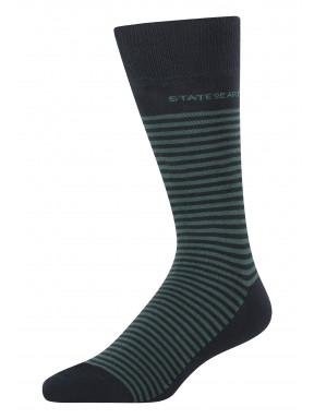 Gestreepte-sokken-van-een-katoenmix---donkerblauw/donkergroen
