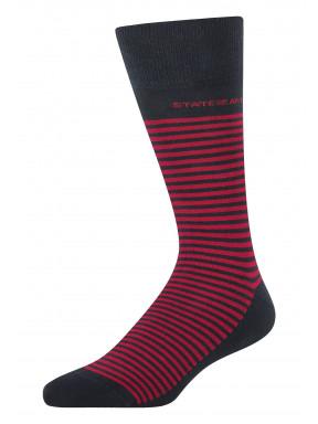 Gestreepte-sokken-van-een-katoenmix---donkerblauw/rood