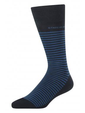 Gestreepte-sokken-van-een-katoenmix---donkerblauw/kobalt