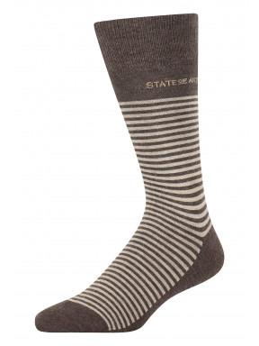 Gestreepte-sokken-van-een-katoenmix---donkerbruin/kit