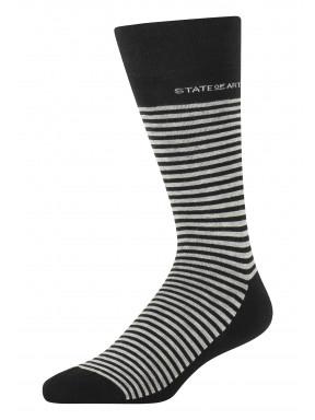 Gestreepte-sokken-van-een-katoenmix---zwart/zilvergrijs