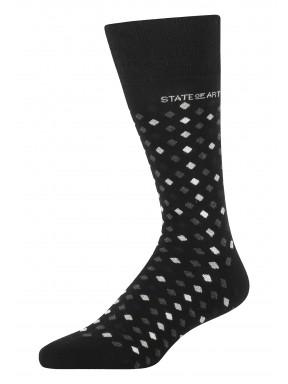 Jacquard-sokken-met-een-ruitpatroon---zwart/zilvergrijs