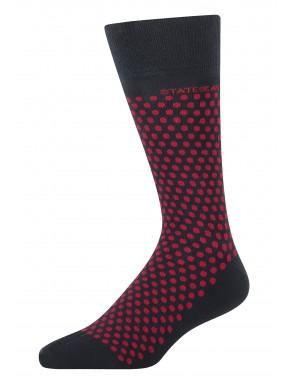 Jacquard-sokken-met-een-stippenpatroon---donkerblauw/rood