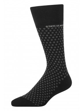 Jacquard-sokken-met-een-stippenpatroon---zwart/donkerantracit