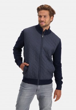 Cardigan-with-stepped-nylon-front